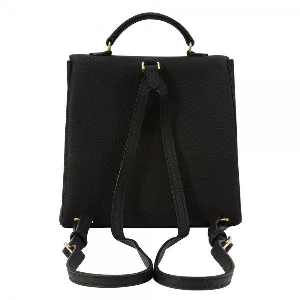 back view of black togo leather back pack