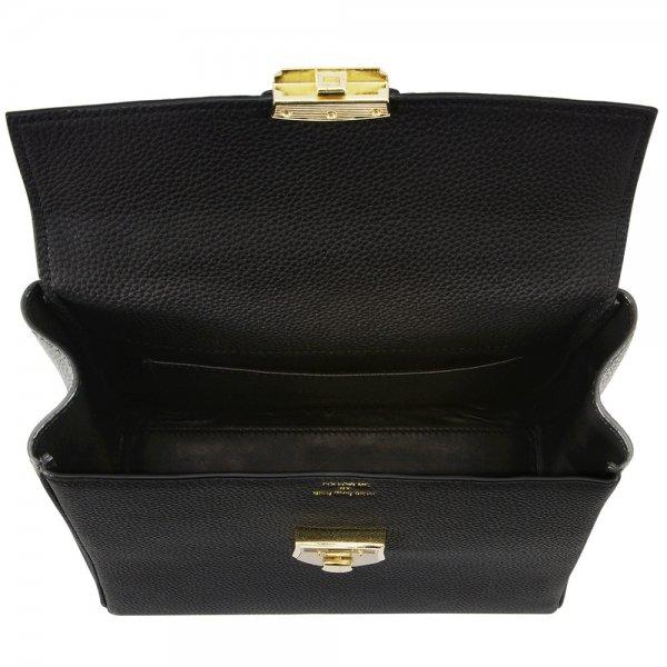 inside view black togo leather backpack