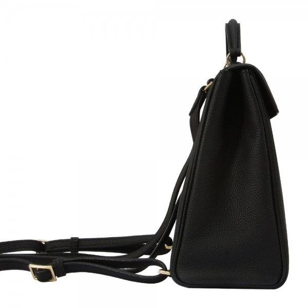 side view black togo leather backpack