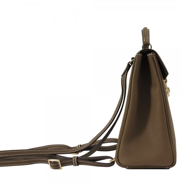 'Follow Me' collection brown togo leather backpack side view