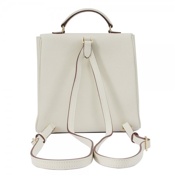 'Follow Me' collection white togo leather backpack back view