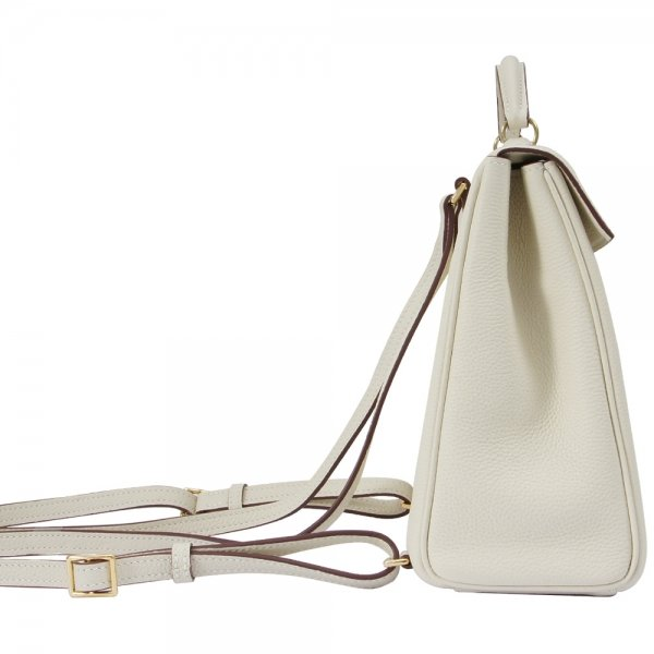 'Follow Me' collection white togo leather backpack side view