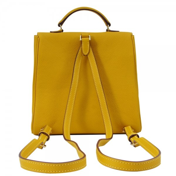 'Follow Me' collection yellow togo leather backpack back view