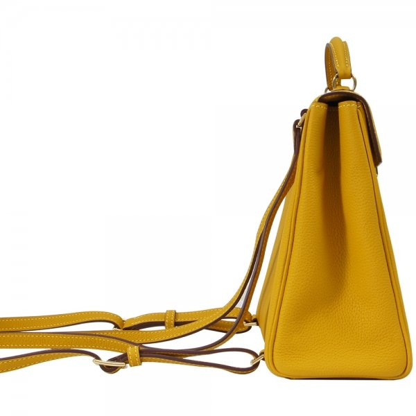 'Follow Me' collection yellow togo leather backpack side view