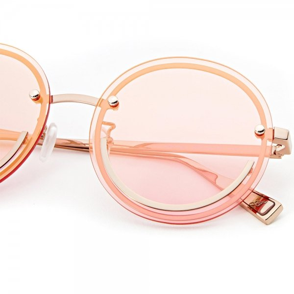 Metal smiley face framed pink tinted glasses
