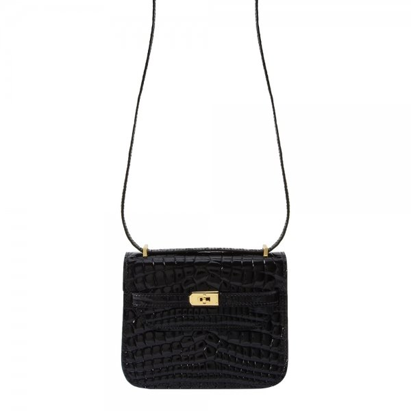 safe flight black 'croc-effect' shoulder bag