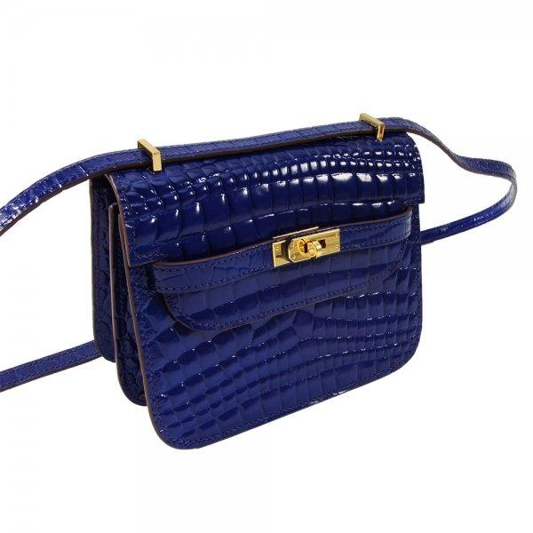 safe flight blue 'croc-effect' shoulder bag's leather texture close up