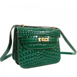 safe flight collection green croco effect shoulder bag close up