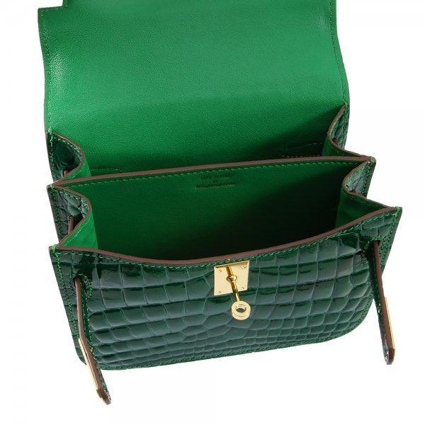 safe flight collection green croco effect shoulder bag inside view