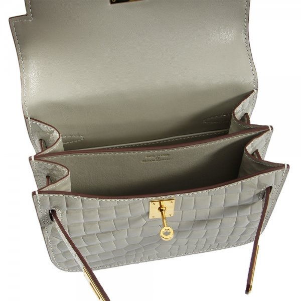 safe flight collection grey croco effect shoulder bag interior view