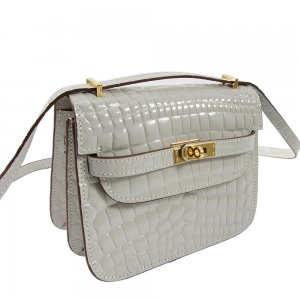 safe flight collection grey croco effect shoulder bag close up view