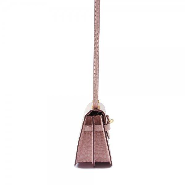 safe flight pink 'croc-effect' shoulder bag side view