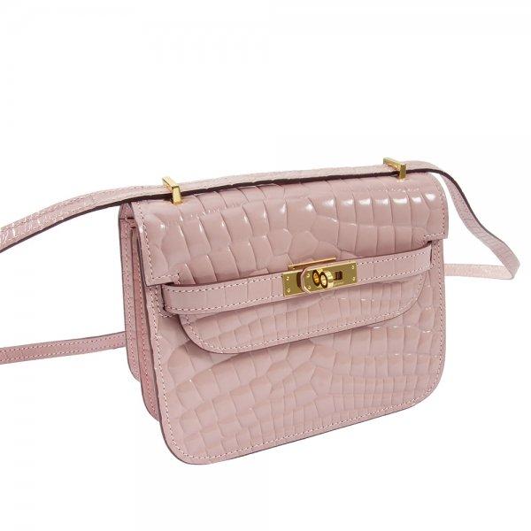 safe flight pink 'croc-effect' shoulder bag leather close up