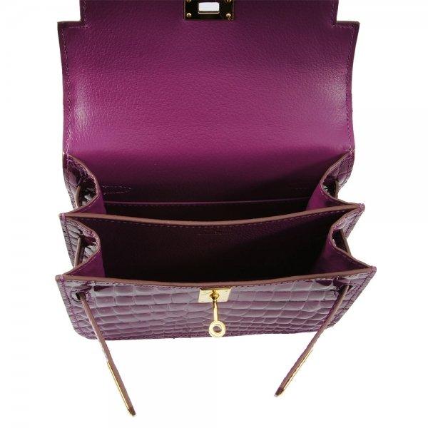 safe flight purple 'croc-effect' shoulder bag inside view