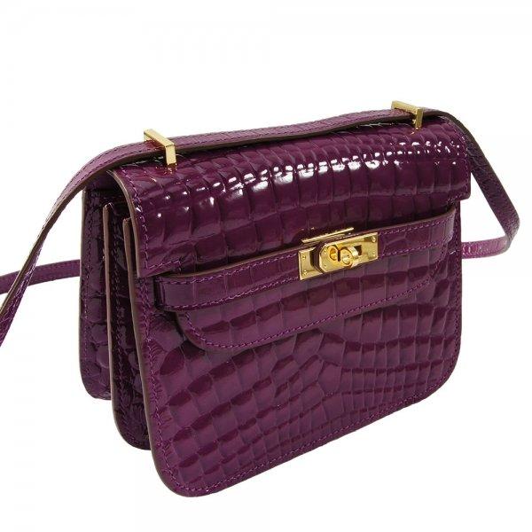safe flight purple 'croc-effect' shoulder bag