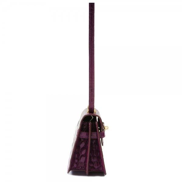 safe flight purple 'croc-effect' shoulder bag side view