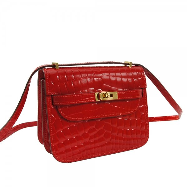 safe flight red 'croc-effect' shoulder bag leather detail close up