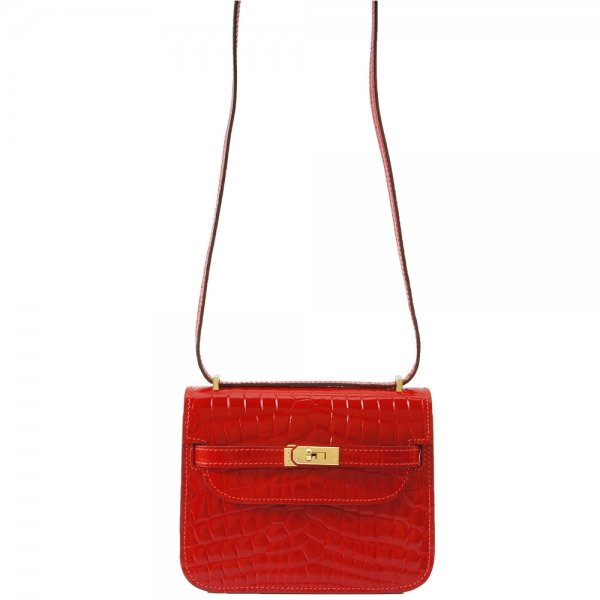 safe flight red 'croc-effect' leather bag hanging by shoulder strap