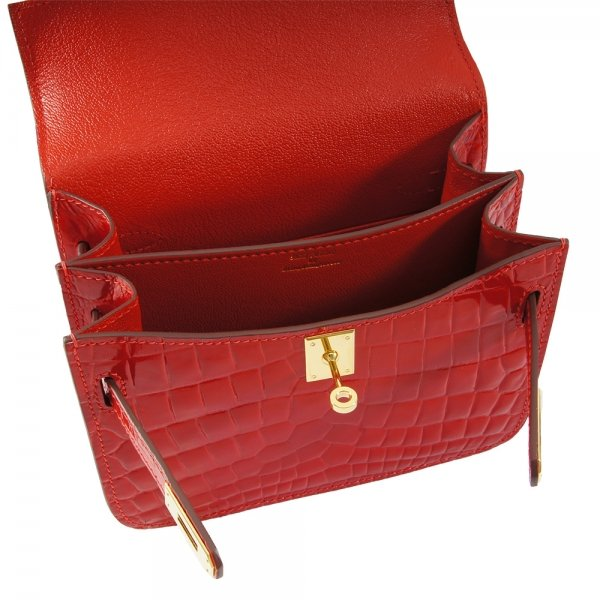 safe flight red 'croc-effect' shoulder bag's inside view