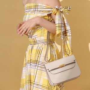 model with safe flight white croco effect calf leather shoulder bag
