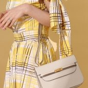 model with safe flight bag in white croco-effect embossed calf leather