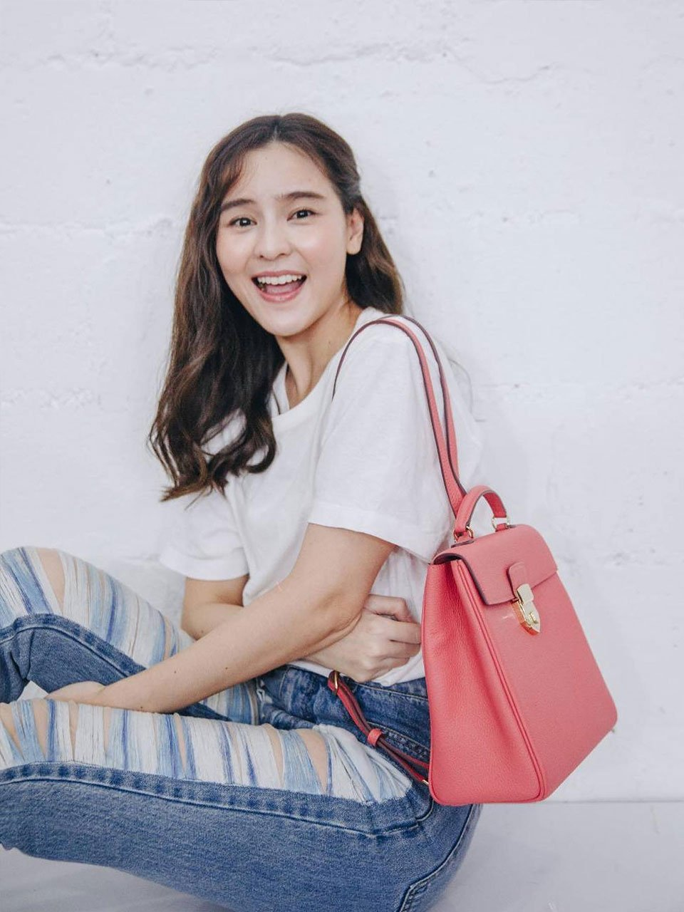 Aom Sushar with Pink Togo Leather Back Pack