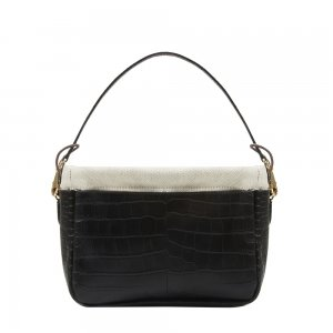 Golden Bread Croco Black Leather Bag