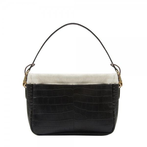 Golden Bread Croco Black Leather Bag