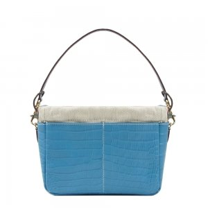 Golden Bread Croco Blue Leather Bag