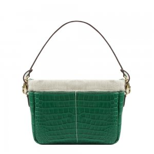 Golden Bread Croco Green Leather Bag
