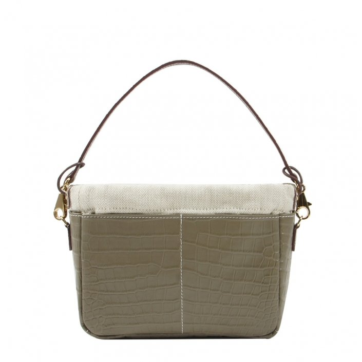 Golden Bread Croco Grey Leather Bag