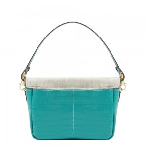 Golden Bread Croco Mint Leather Bag