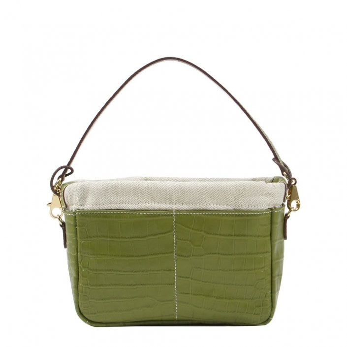Golden Bread Croco Olive Green Leather Bag