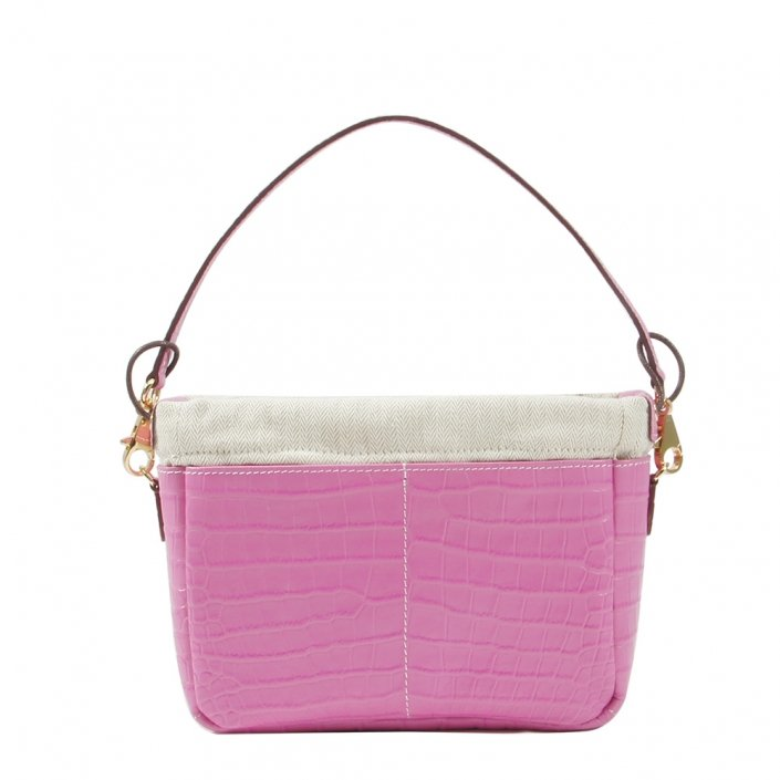 Golden Bread Croco Pink Leather Bag