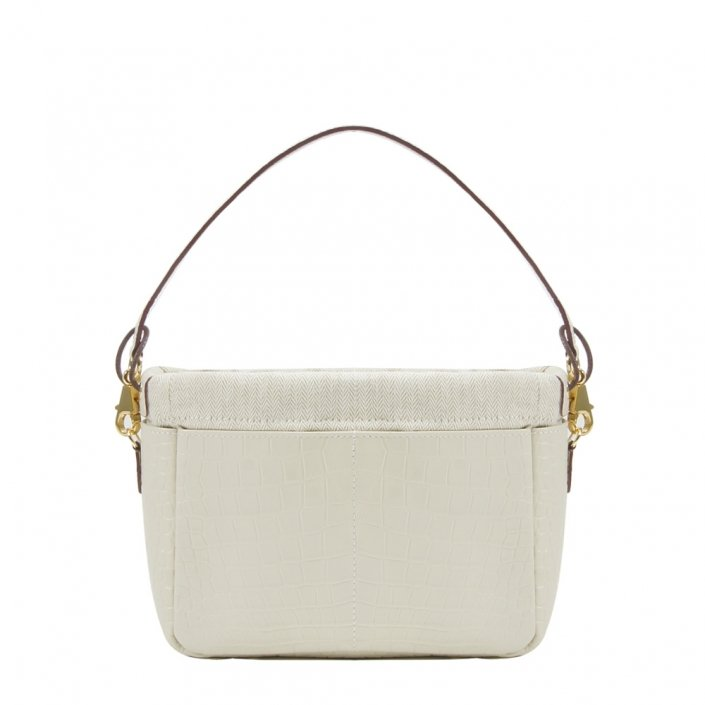 Golden Bread Croco White Leather Bag