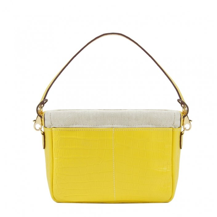 Golden Bread Croco Yellow Leather Bag